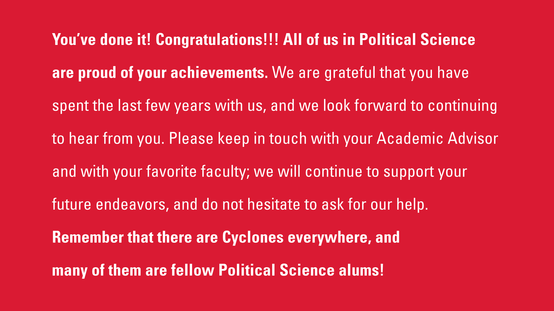 Political Science Congratulations