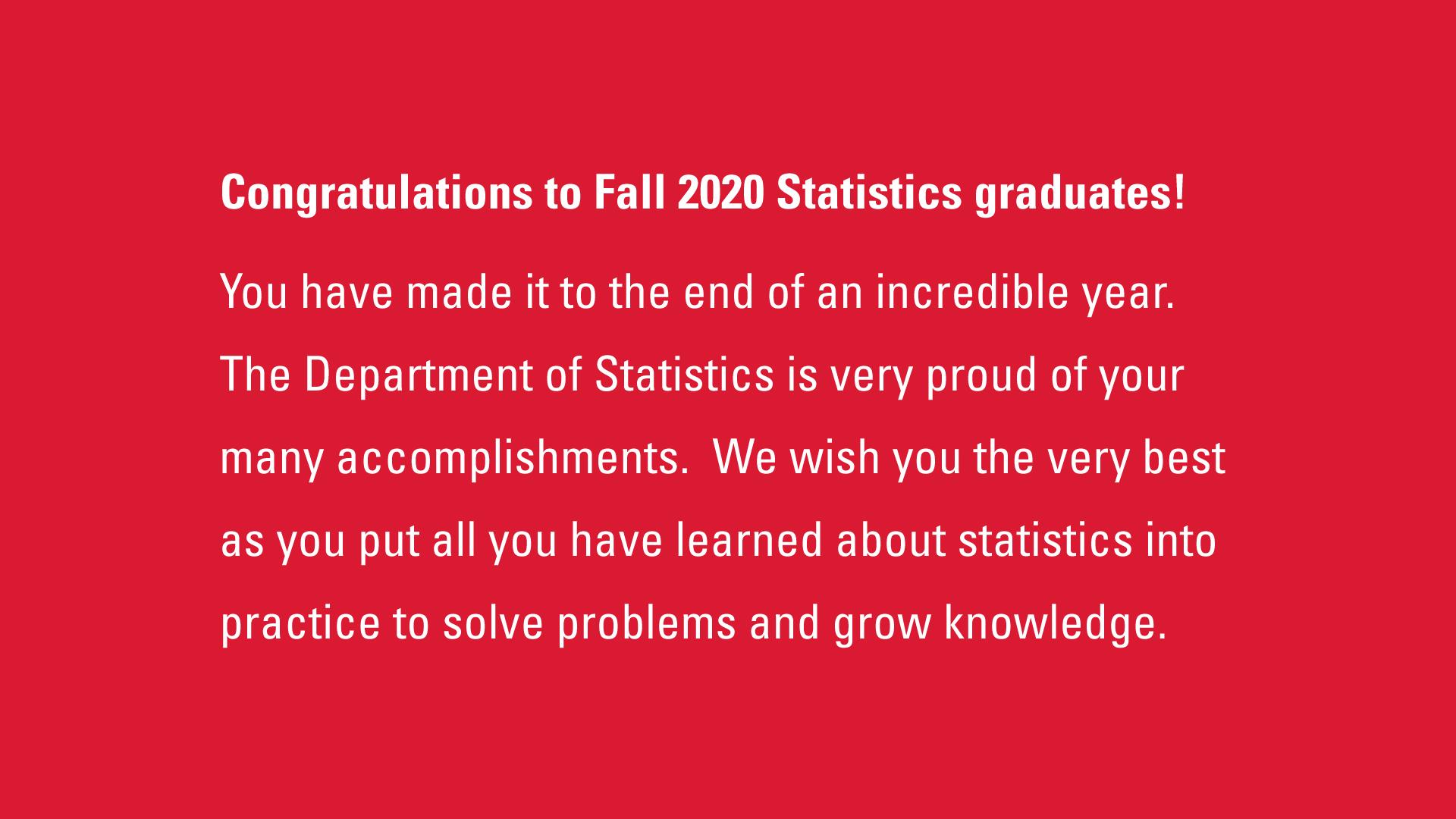Statistics Congratulations